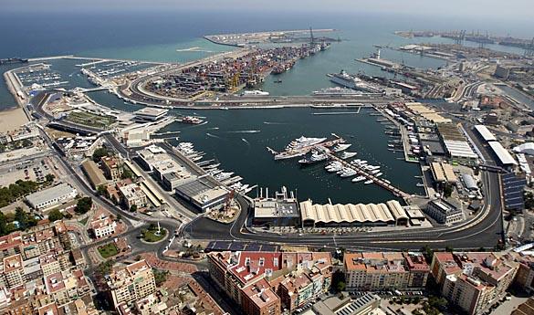 DOCU_LP DOCU_GRUPO Aerial view of the Valencia Formula One street circuit